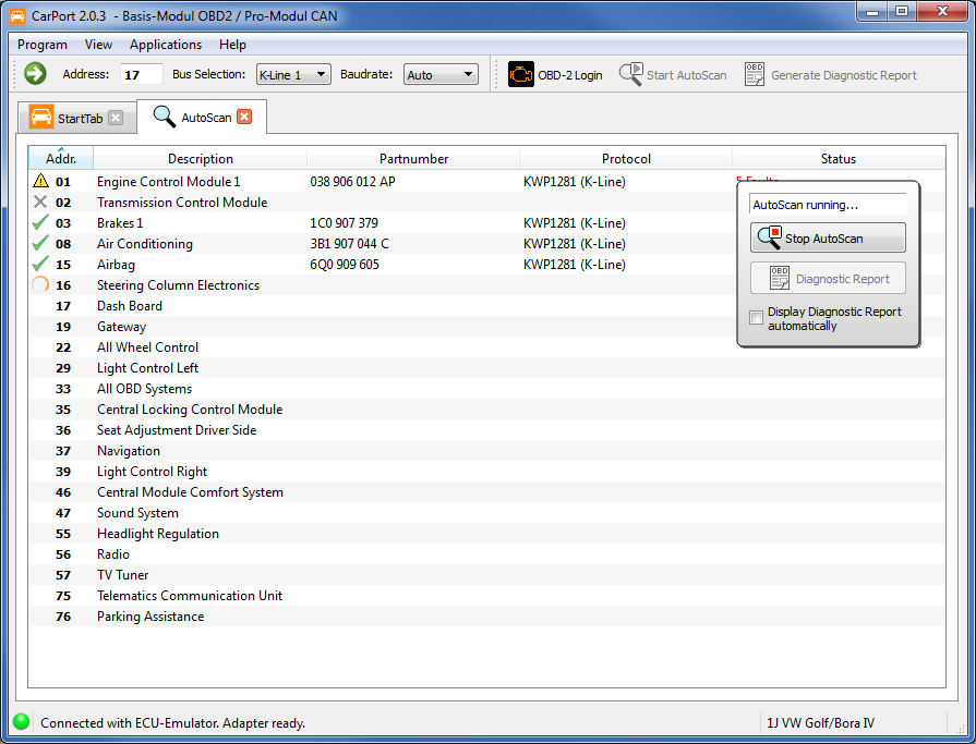 CarPort - Features of Car Diagnostic Software for VAG Brands